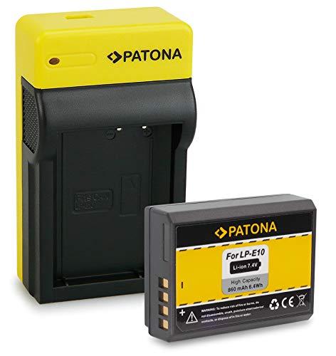 PATONA Bateria LP-E10 con Estrecho Cargador Compatible con Canon EOS 1100D, 1200D, 1300D, 2000D, 4000D