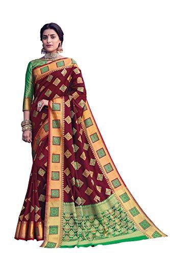 HAOK Sarees For Women's Banarasi Art Silk Woven Sari | Regalo indio de boda ropa tradicional | Sari y blusa no cosida…