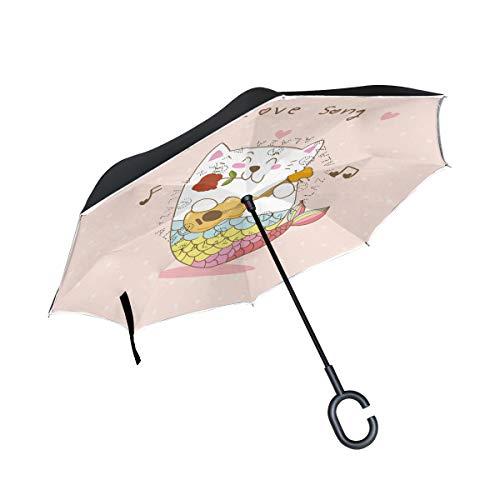 Katze Meerjungfrau Gitarre Liebeslied Reversion Invertierter Umgekehrter Regenschirm Langschirm UV-Schutz Umbrella Winddicht Schirme für Auto Jungen Mädchen Frauen