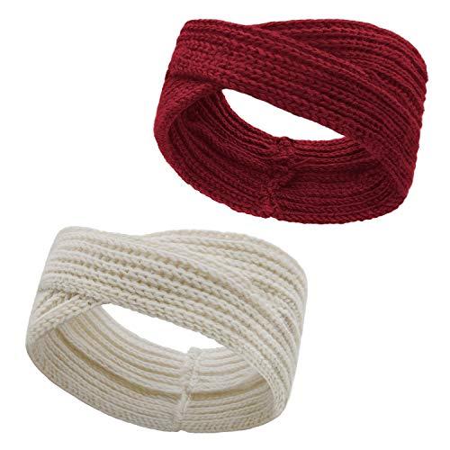 Stynice 2 Stück Stirnbänder Damen Schleife Design - Winter Kopfband Haarband für Damen Mädchen