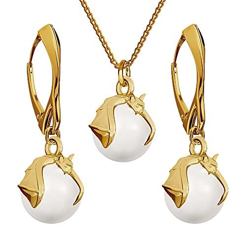 Conjunto de joyas de plata de ley 925 chapada en oro de 24 quilates con perlas de Swarovski de murciélago, blanco, pendientes para mujer, collar con colgante, joyas para mujer, con caja de regalo