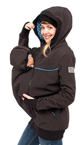 Viva la Mama 3in1 Kängurujacke für Babytragen Kapuzenjacke aus Softshell Funktionsjacke Schwanger Umstandspulli Damen I Jacky schwarz Sterne - S
