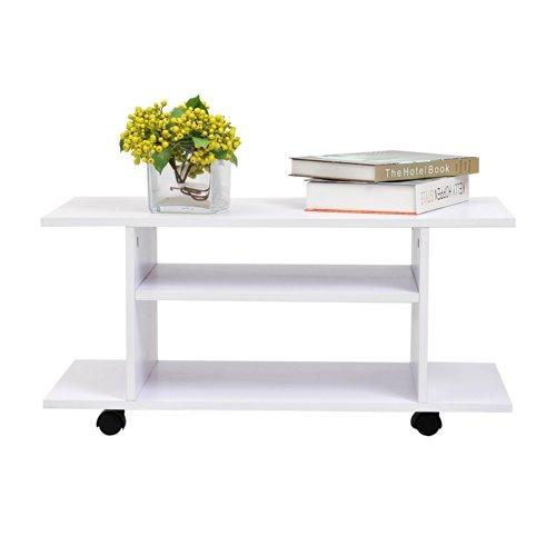 Mueble para Televisión con Ruedas Tipo Mesa TV Móvil - Color Blanco - Madera - 80x40x40 cm