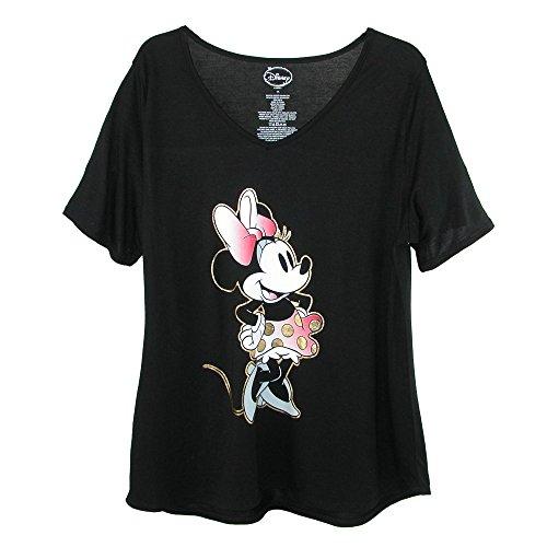 Disney Women's Plus Size Minnie Mouse V Neck T Shirt, 2X, Black