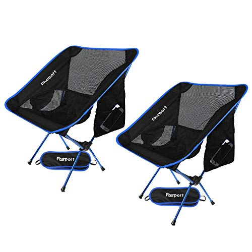 2 Pack Portable Camping Chairs Lightweight Folding Backpacking Chair Compact & Heavy Duty for Camp, Backpack, Hiking, Beach, Picnic, with Carry Bag