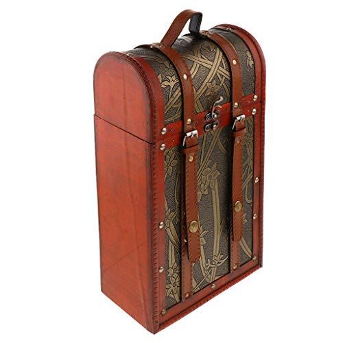 Retro Holz Weinkiste Weinbox Holzkiste Geschenkbox Weinflasche Kiste für 2 Flaschen