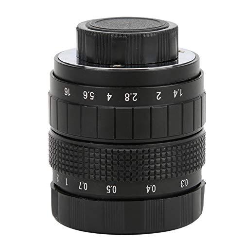 Sxhlseller Lente de Montaje en C de 50 mm, Lente F1.4 Utilizada con Anillo Adaptador para cámara sin Espejo(Negro)