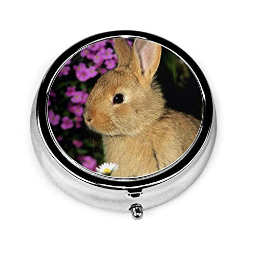 3 Compartment Pill Box Rabbit Flowers Baby Shade Grass Luxury Travel Kit Storage Metal Round Silver Button Pill Dispenser Vitamins Fish Oil Supplements