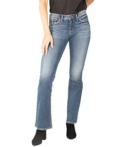 Silver Jeans Co. Women's Suki Curvy Fit Mid Rise Bootcut Jeans, Medium Indigo Wash, 25W x 33L