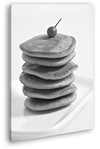 deyoli Dorayaki Pancakes con Efecto Fruta: Negro/Blanco como Imagen de Lienzo, diseño Enmarcado en Marco de Madera auténtica, impresión Digital Marco, no es un póster ni un Cartel, Lona, 120 x 80