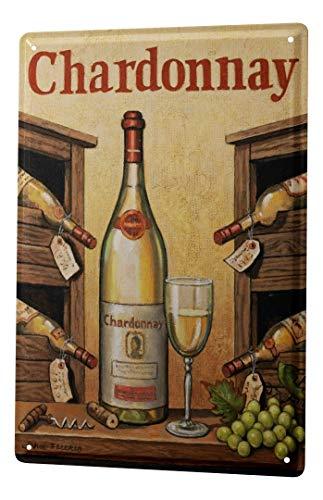 LEotiE SINCE 2004 Blechschild Dekoschild Küche Garage Plakat Metall Poster Weinglas Wein Trauben Küchendeko 20X30 cm