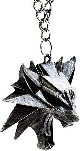 ZGYFJCH Co.,ltd Collar Mujer Collar The Witcher 3 Wild Hunt Medallón - Colgante de Cabeza de Lobo Salvaje - Memorabilia de Videojuegos para Hombres