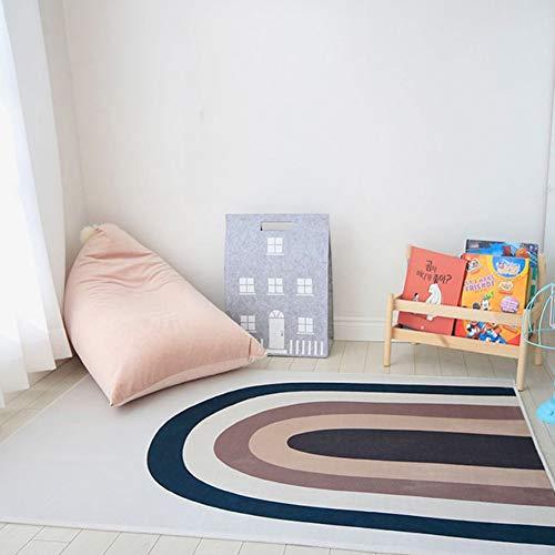 Kinder Regenbogens Spielmatte, 150 x 100cm Teppich zum Krabbeln und Spielen für Babys,