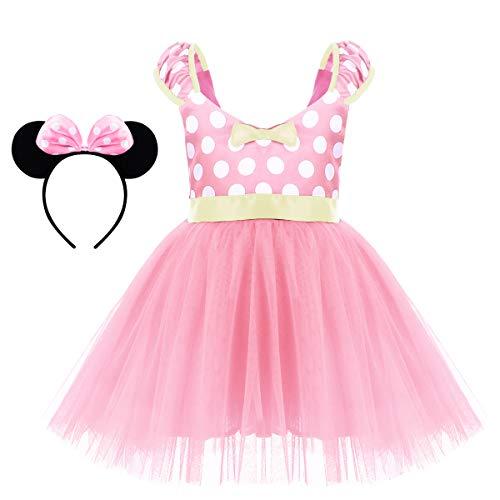 Minnie Costume Little Girl Birthday Tutu Dress with Ear Headband Polka Dots Christmas Holiday Dress Up Princess Outfits Short Dress Pink 2-3 Years