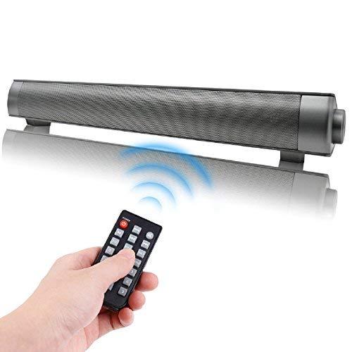 QSPORTPEAK Soundbar Altoparlanti Portatili Relatori Bluetooth Diffusori Wireless, Stereo per Home Theater Televisori Intervengono Cassa con Microfono 10W 3.5mm AUX RCA Slot per schede TF(Nero)