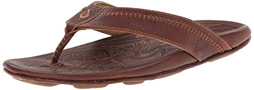 OluKai Hiapo Mens Sandals in Teak/Teak sz:11