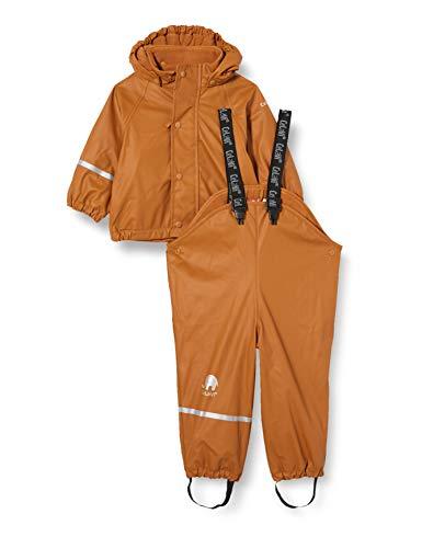 Celavi Girls Rainwear Set wit Fleece Rain Jacket, Pumpkin Spice, 80