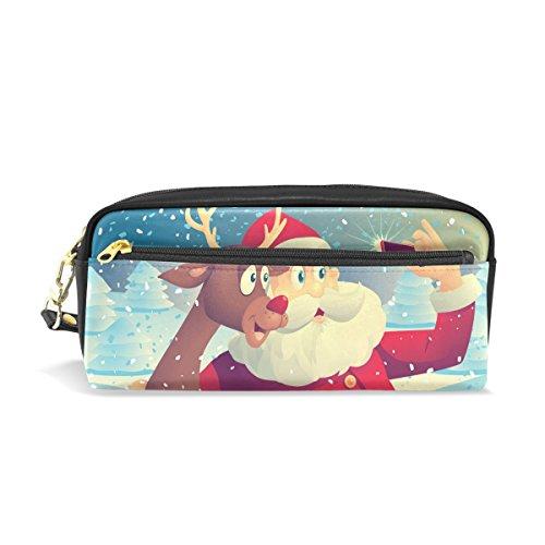 Bennigiry Babbo Natale e Rudolph scattare foto insieme portapenne scuola per bambini, bambini portapenne grande capacità durevole cancelleria della borsa