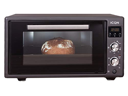ICQN 50 L Minibackofen mit Digitalem Timer | Popup-Knöpfe | 1400 W | LED-Anzeige | Umluft | Pizza-Ofen | Doppelverglasung | Drehspieß | inkl. Backblech Set | 40°-230°C | Emailliert Black | Anthrazit