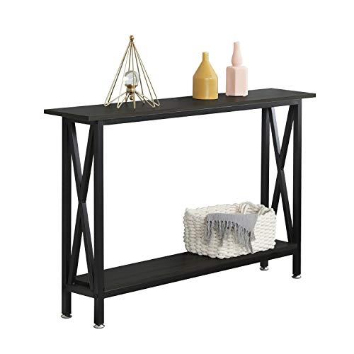 consolle ingresso 20 cm DlandHome Tavolo Consolle Tavolino in Legno & Piedi di Metallo per Soggiorno/Corridoio/Ingresso