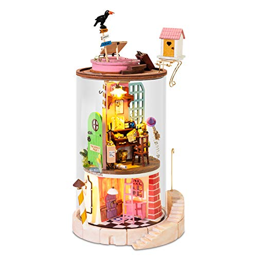ROBOTIME DIY Dollhouse Wooden Miniatur, Dollhouse Kits, Wooden DIY Doll House Model Kits, Dollhouse Miniature Flower House with Cover for Birthday Christmas Valentine Gift Best Birthday Gifts