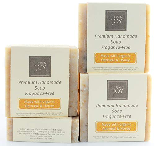 VEGAN - Premium Fresh Organic Honey & Oatmeal Soap - Fragrance-Free - Natural Soap Made with Organic...
