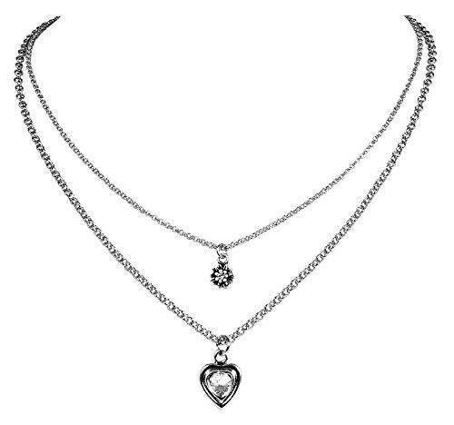 LUISIA® Doppelhalskette mit Edelweiß, Herz und Kristallen von Swarovski® - Silber - Zauberhafter Trachten Dirndl Schmuck