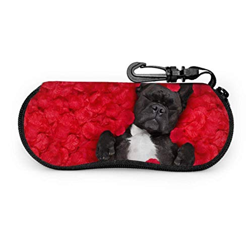 Dog Lying In Bed Full Of Red Flower Cheap Sunglass Pouch Women Eyeglass Case Light Portable Neoprene Zipper Soft Case Ladies Sunglasses Case