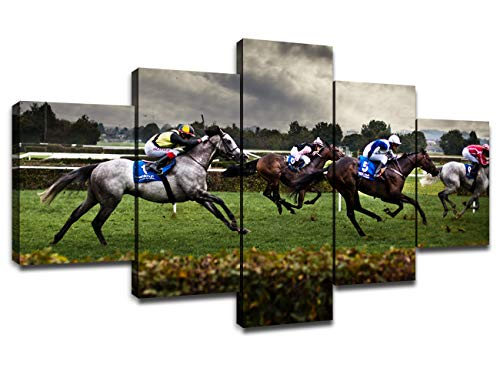 Horse Racing Wall Art Modern Pictures for Living Room Artwork Painting Dining Room Decor 5 Panel Canvas Prints Racehorse Poster Bedroom Decoration Framed Ready to Hang(60''Wx32''H)