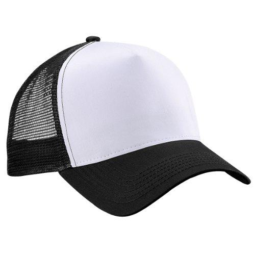 Beechfield - Gorra estilo camionero retro negro/blanco Taille unique