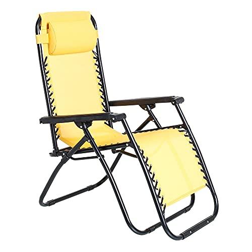 Silla Gravedad Cero reclinable con Bloqueo Mostaza de Acero y textileno de 95x65x106 cm - LOLAhome