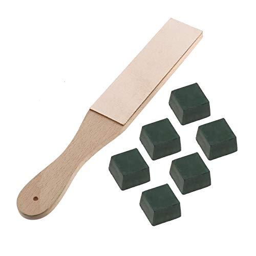 OTOTEC dubbelzijdig leder polijsten slijper lederen strop blok & 6 stks bufferen verbindingen kit voor slijpen & polijsten mes beitel