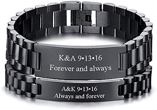 "VNOX Personifizieren 2PCS Paar Schmuck Metall Edelstahl ID Tag Uhrenarmband Armband,Schwarz verstellbares Armband Armband Armband Geschenk zum Jubiläum,8.3\"""
