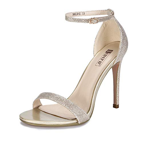 IDIFU Women's IN4 Slim-HI Open Toe Stiletto High Heel Ankle Strap Dress Sandals Party Shoes Gold Glitter 10 M US