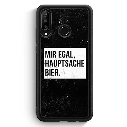 Mir Egal Hauptsache Bier - Silikon Hülle für Huawei P30 Lite - Motiv Design Cool Witzig Lustig Spruch Zitat Grunge - Cover Handyhülle Schutzhülle Hülle Schale