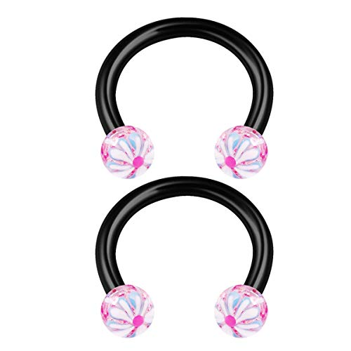 2PCS Surgical Steel Pink 22 Horseshoe Ring 16 gauge 5/16 8mm 3mm Ball Snakebites Daith Earrings Nose Piercing Jewellery 1164