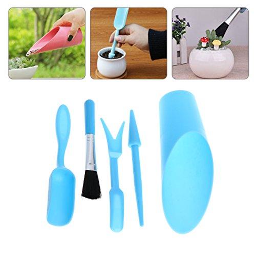 Manyo 5-teiliges Gartenwerkzeug-Set, Schaufel, Schaufel, Schaufel, Spitzschaufel, Bürste, Pflanzmaschine, Kunststoff, Bonsai-Werkzeug für Pflanzen im Sukkulentopf, zufällige Farbe