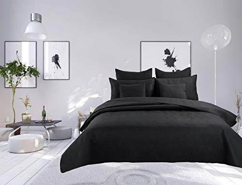 Colcha bouti de 7 piezas lisa, con costuras metálicas, para cama de 2 plazas (negro, cubre cama bouti de 7 piezas, lisa, con costuras metros)