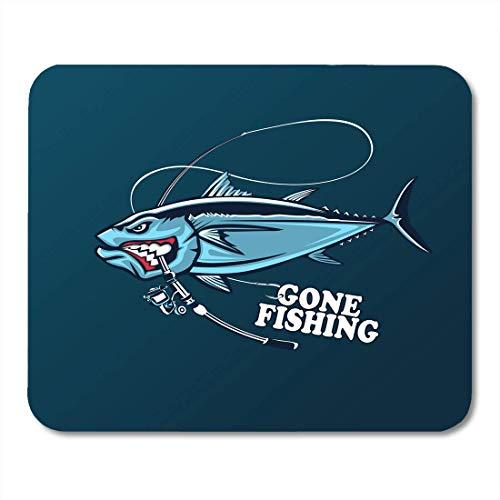 AOHOT Mauspads Blue Marlin Angry Tuna Fish Fishing Emblem Big Eye Club Logotype Yellow Saltwater Mouse pad 9.5