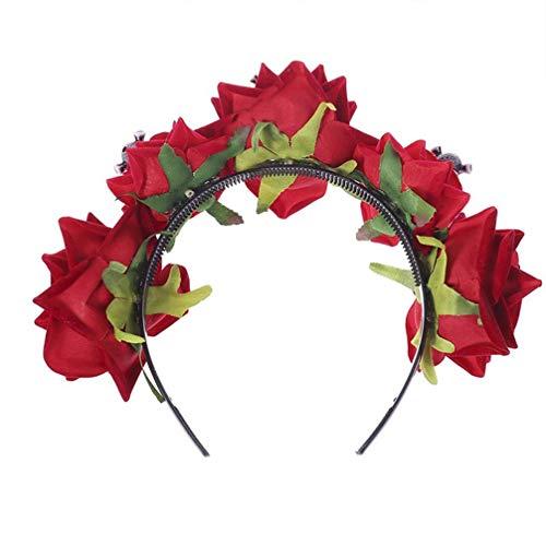 ADSE Diadema de Flores de Halloween Diadema de da de los Muertos Boho Corona Floral Crneo Flor de Rosa Corona de Pelo para Disfraz de Fiesta de Halloween (Rojo)