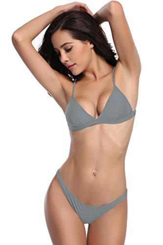 SHEKINI Damen Triangel Bikini Set Gepolsterte Bademode Rückenfrei Badebekleidung Low Waist Bikinihose