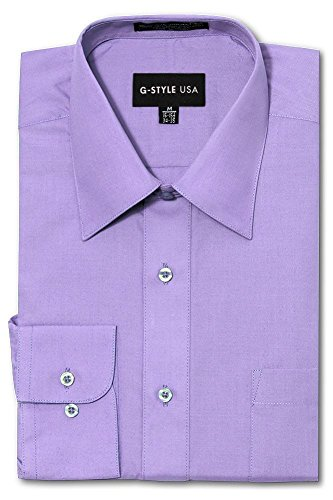 G-Style USA Men's Regular Fit Long Sleeve Solid Color Dress Shirts - Lilac - Small - 32-33