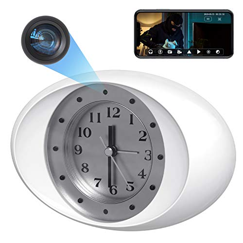 GazingSure Spy Cam WiFi Wireless Clock Hidden Camera, 1080P FHD Spy Camera with Audio Covert Nanny Cam with Motion Detection and Invisible IR Lights, Home Security Surveillance Spy Camera