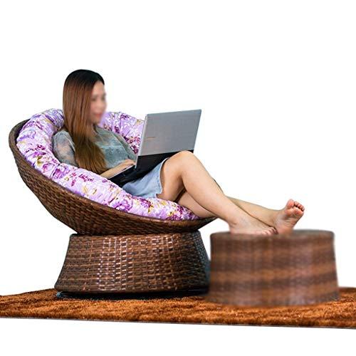 XBSLJ Sillas de Acampada Plegable Casual Lazy Sofa Rattan Moon Chair Adecuado para balcón, jardín, 71 * 71 * 92 cm (Blanco/marrón) (Color: marrón)