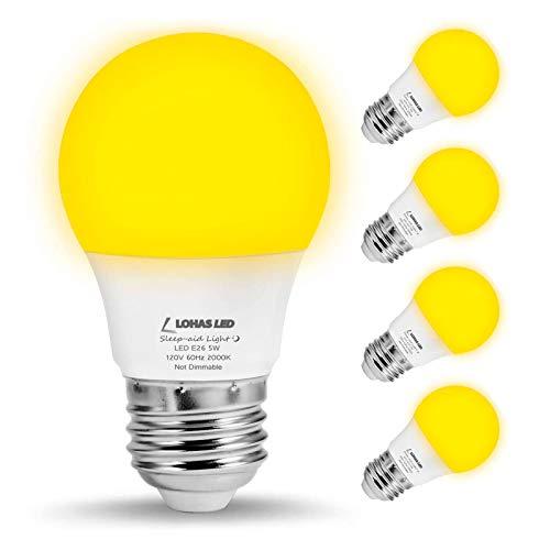LOHAS Bug Light Bulb Yellow LED Bulbs, Outdoor Porch Lights, Amber Bedroom Night Light Bulb A15 Bugs LED Bulbs, 40W Equivalent E26 Edison Bulb(5W), Warm LEDs Hallway Lighting Decorative Lamps(4 Pack)