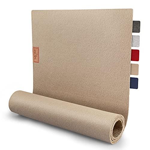 Sølmo I Camino de mesa de diseño de fieltro, 100 x 30 cm, lavable, con etiqueta de piel, mesa escandinava, alfombra de fieltro para primavera y primavera (Sahara Dust)