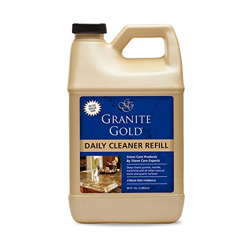 Granite Gold Daily Cleaner Refill Streak-Free Cleaning for Granite, Marble, Travertine, Quartz, Natural Stone Countertops, Floors-Made in the USA, 64 Ounces