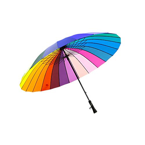 Qich Free Shipping Top Quality 24k Color Rainbow Fashion Long Handle Straight Sun/Rain Stick Umbrella Manual Paraso