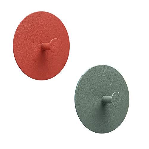 Juego de 2 ganchos de pared, toallero autoadhesivo sin taladrar, toallero de colores, percheros, ganchos de puerta, ganchos de pared, inoxidables, apto para baño, salón(Naranja + verde oscuro)