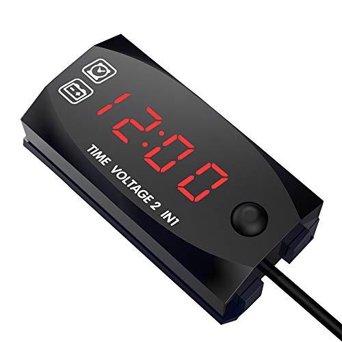 KKmoon DC 6V-30V 2-in-1 Auto Digital Voltmeter Zeitschaltuhr Spannungsprüfer IP67 Wasserdichter LED Display Messgerät für Auto Motorrad Boot Rot